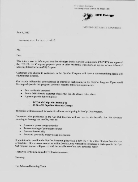 DTE Opt-Out Letter